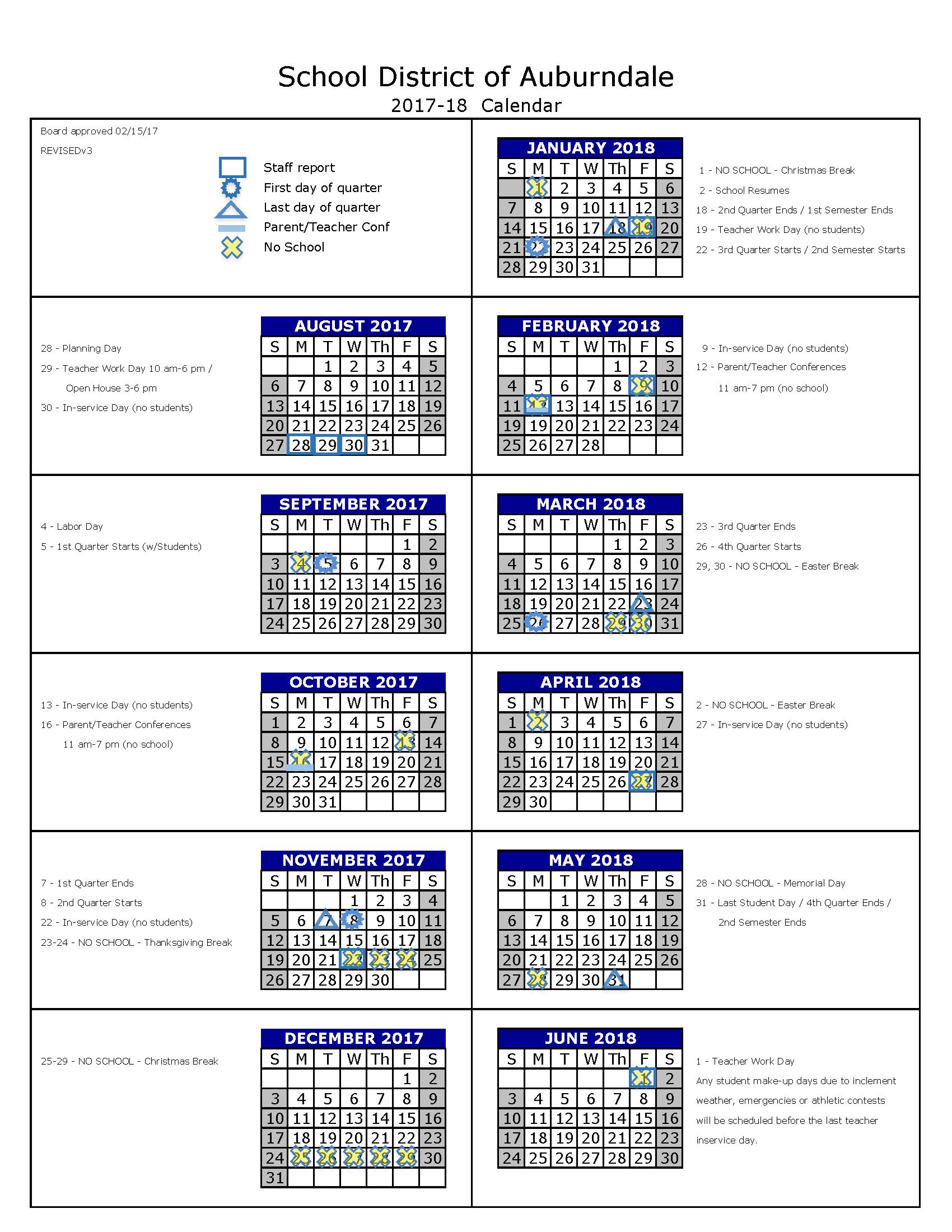School Year Calendar / Auburndale School Year Calendar