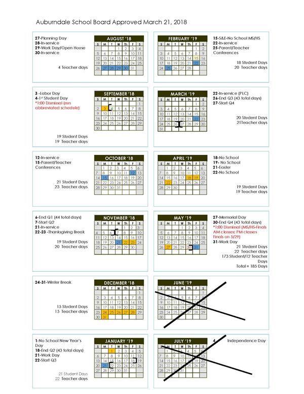auburndale 2018_19 school calendar - When Does School Start After Christmas Break