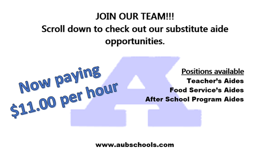Substitute Aide Pay Now $11/Hour